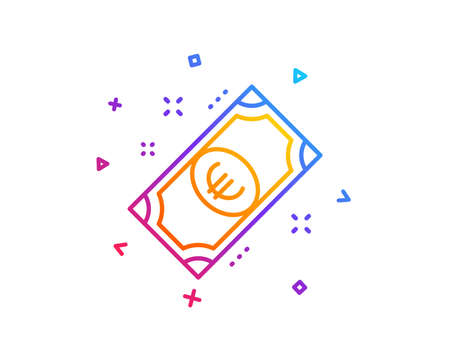 Euro money line icon. Payment method sign. Eur symbol. Gradient line button. Euro money icon design. Colorful geometric shapes. Vector 向量圖像