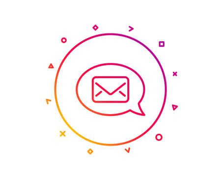 Mail line icon. Messenger communication sign. E-mail symbol. Gradient pattern line button. Messenger icon design. Geometric shapes. Vector Illustration
