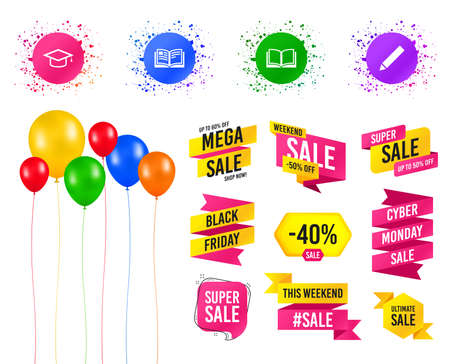 Balloons party. Sales banners. Pencil and open book icons. Graduation cap symbol. Higher education learn signs. Birthday event. Trendy design. Vector