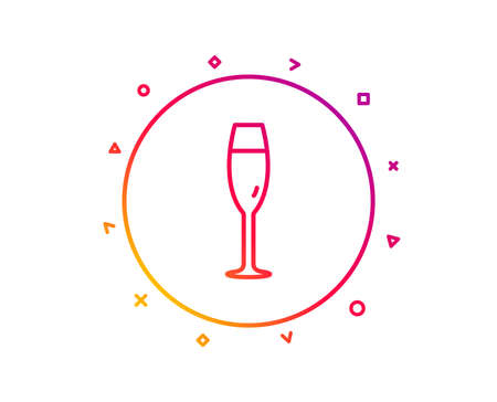 Champagne glass line icon. Wine glass sign. Gradient pattern line button. Champagne glass icon design. Geometric shapes. Vector  イラスト・ベクター素材