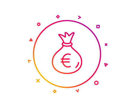 Money bag line icon. Cash Banking currency sign. Euro or EUR symbol. Gradient pattern line button. Money bag icon design. Geometric shapes. Vector Illustration