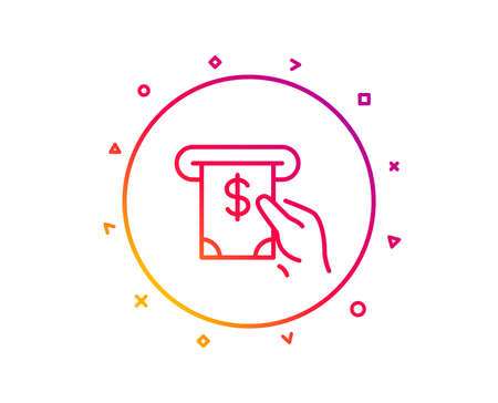 Cash money line icon. Banking currency sign. Dollar or USD symbol. ATM service. Gradient pattern line button. ATM service icon design. Geometric shapes. Vector
