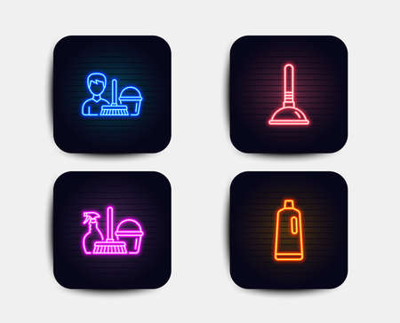 Neon set of Household service, Plunger and Cleaning service icons. Shampoo sign. Cleaning equipment, Clogged pipes cleaner, Bucket with mop. Bath cleanser. Neon icons. Vector