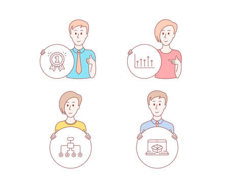 People hand drawn style. Set of Growth chart, Reward and Restructuring icons. Online delivery sign. Upper arrows, First place, Delegate. Parcel tracking website.  Character hold circle button. Vector