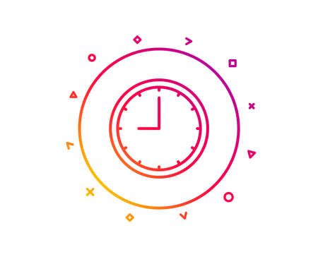 Clock line icon. Time sign. Office Watch or Timer symbol. Gradient pattern line button. Time icon design. Geometric shapes. Vector Illustration