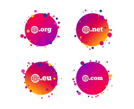 Top-level internet domain icons. Com, Eu, Net and Org symbols with globe. Unique DNS names. Gradient circle buttons with icons. Random dots design. Vector