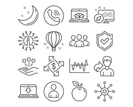 Set of Payment exchange, Consolidation and Internet downloading icons. Online delivery, Group and Stock analysis signs. Air balloon, Avatar and Multichannel symbols. Payment vector Illustration