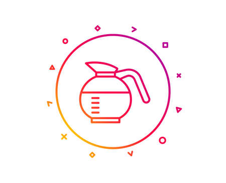 Coffeepot line icon. Coffee Hot drink sign. Brewed fresh beverage symbol. Gradient pattern line button. Coffeepot icon design. Geometric shapes. Vector