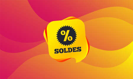 Soldes - Sale in French sign icon. Star with percentage symbol. Wave background. Abstract shopping banner. Template for design. Vector Illustration