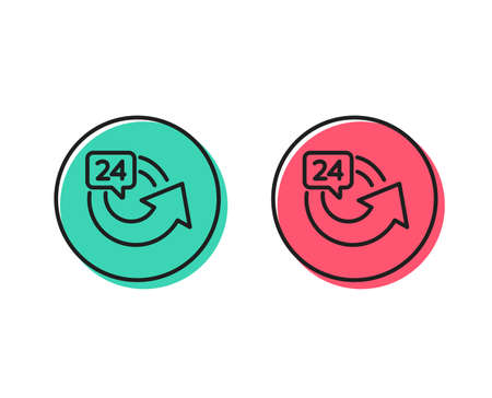 24 hours service line icon. Repeat every day sign. Refund symbol. Positive and negative circle buttons concept. Good or bad symbols. 24 hours Vector Illustration