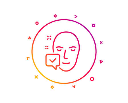 Face accepted line icon. Access granted sign. Facial identification success symbol. Gradient pattern line button. Face accepted icon design. Geometric shapes. Vector