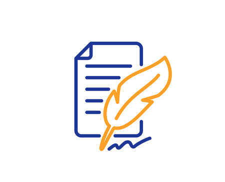 Feather signature line icon. Copywriting sign. Feedback symbol. Colorful outline concept. Blue and orange thin line color icon. Feather signature Vector