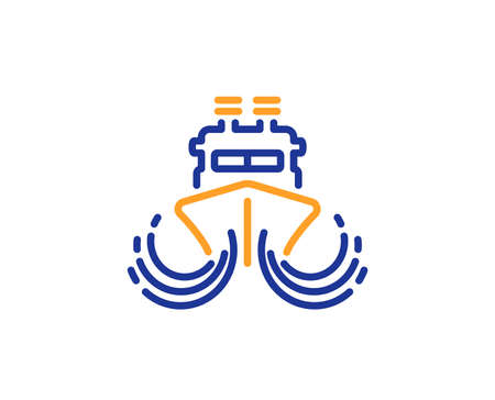 Ship in waves line icon. Watercraft transport sign. Shipping symbol. Colorful outline concept. Blue and orange thin line color icon. Ship Vector