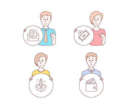 People set of Startup, Rejected payment and Credit card icons. Debit card sign. Innovation, Bank transfer, Mail. Character hold circle button. Man with like hand. People vector