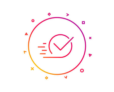 Approved line icon. Accepted or confirmed sign. Gradient pattern line button. Checkbox icon design. Geometric shapes. Vector  イラスト・ベクター素材