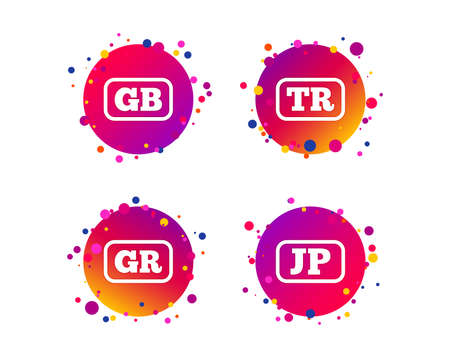Language icons. JP, TR, GR and GB translation symbols. Japan, Turkey, Greece and England languages. Gradient circle buttons with icons. Random dots design. Vector Stock Illustratie