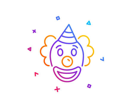 Clown line icon. Amusement park funnyman sign. Gradient line button. Clown icon design. Colorful geometric shapes. Vector 向量圖像