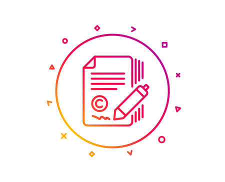 Copywriting line icon. Ð¡opyright signature sign. Feedback symbol. Gradient pattern line button. Copywriting icon design. Geometric shapes. Vector Illusztráció