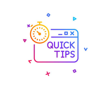Quick tips line icon. Helpful tricks sign. Tutorials with timer symbol. Gradient line button. Quick tips icon design. Colorful geometric shapes. Vector Vektorové ilustrace