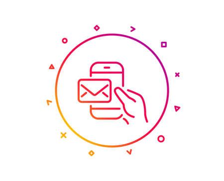 Messenger Mail line icon. New newsletter sign. Phone E-mail symbol. Gradient pattern line button. Messenger Mail icon design. Geometric shapes. Vector