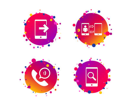 Phone icons. Smartphone with speech bubble sign. Call center support symbol. Synchronization symbol. Gradient circle buttons with phone icons. Random dots design. Vector