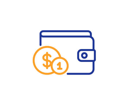 Wallet with Cash money line icon. Dollar currency sign. Payment method symbol. Colorful outline concept. Blue and orange thin line color icon. Buying accessory Vector