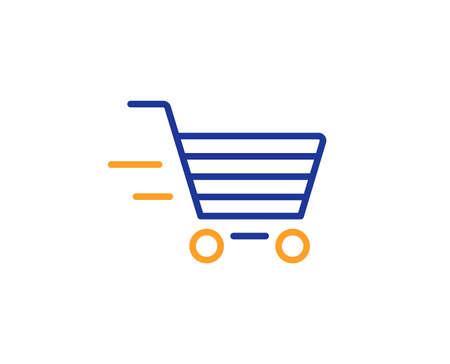 Icono de línea de servicio de entrega. Signo de carrito de compras. Compra Express Online. Símbolo de la cesta de supermercado. Concepto de esquema colorido. Icono de color de línea fina azul y naranja. Vector de compras de entrega