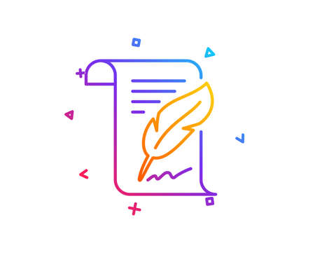 Feather signature line icon. Copywriting sign. Feedback symbol. Gradient line button. Feather icon design. Colorful geometric shapes. Vector Illusztráció