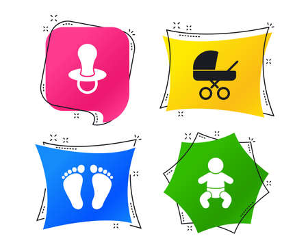 Baby infants icons. Toddler boy with diapers symbol. Buggy and dummy signs. Child pacifier and pram stroller. Child footprint step sign. Geometric colorful tags. Banners with flat icons. Trendy design