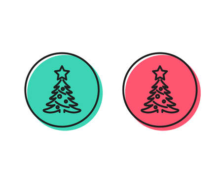 Christmas tree present line icon. New year spruce sign. Fir-tree symbol. Positive and negative circle buttons concept. Good or bad symbols. Christmas tree Vector