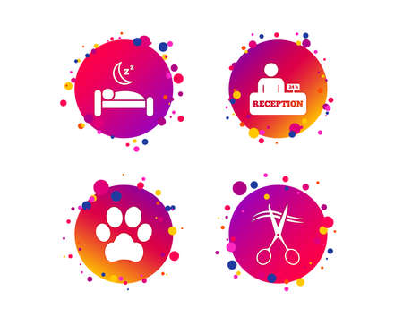 Hotel services icons. With pets allowed in room signs. Hairdresser or barbershop symbol. Reception registration table. Quiet sleep. Gradient circle buttons with icons. Random dots design. Vector