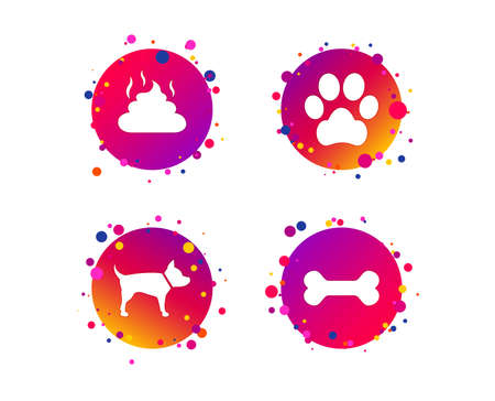 Pets icons. Dog paw and feces signs. Clean up after pets. Pets food. Gradient circle buttons with icons. Random dots design. Dog paw vector
