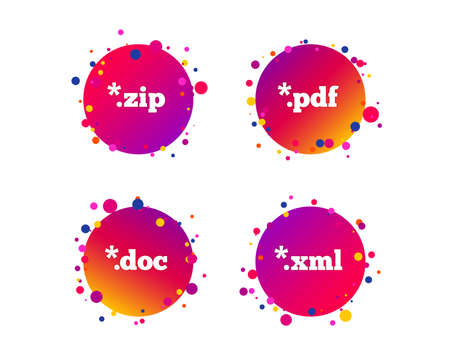 Document icons. File extensions symbols. PDF, ZIP zipped, XML and DOC signs. Gradient circle buttons with icons. Random dots design. Vector Illustration