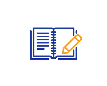 Feedback line icon. Book with pencil sign. Copywriting symbol. Colorful outline concept. Blue and orange thin line color icon. Feedback Vector