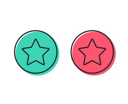 Star line icon. Best rank sign. Bookmark or Favorite symbol. Positive and negative circle buttons concept. Good or bad symbols. Star Vector Illusztráció