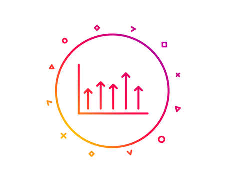 Growth chart line icon. Financial graph sign. Upper Arrows symbol. Business investment. Gradient pattern line button. Growth chart icon design. Geometric shapes. Vector Illustration