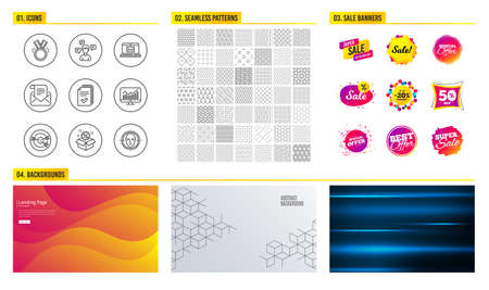 Seamless pattern. Shopping sale banners. Set of Handout, Conversation messages and Targeting icons. Honor, Statistics and E-mail signs. Mail newsletter, Sale and Face detect symbols. Vector
