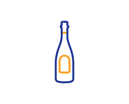 Champagne bottle line icon. Anniversary alcohol sign. Celebration event drink. Colorful outline concept. Blue and orange thin line color icon. Champagne Vector