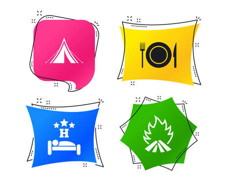 Food, sleep, camping tent and fire icons. Knife, fork and dish. Hotel or bed and breakfast. Road signs. Geometric colorful tags. Banners with flat icons. Trendy design. Vector Illustration