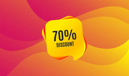 70% Discount. Sale offer price sign. Special offer symbol. Wave background. Abstract shopping banner. Template for design. Vector Çizim