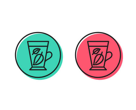 Mint Tea line icon. Fresh herbal beverage sign. Mentha leaves symbol. Positive and negative circle buttons concept. Good or bad symbols. Mint leaves Vector