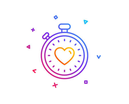 Heart in Timer line icon. Love symbol. Valentines day stopwatch sign. Gradient line button. Heartbeat timer icon design. Colorful geometric shapes. Vector Imagens - 111606616