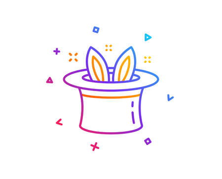 Hat-trick line icon. Magic tricks with hat and rabbit sign. Illusionist show symbol. Gradient line button. Hat-trick icon design. Colorful geometric shapes. Vector