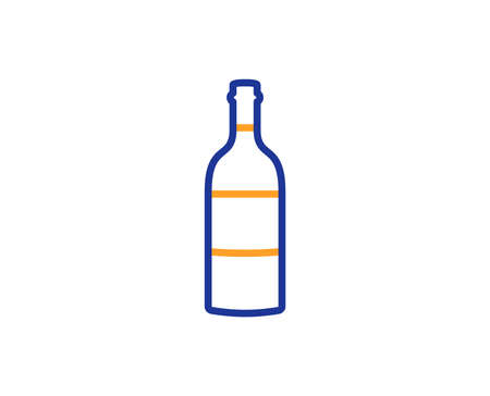 Wine bottle line icon. Merlot or Cabernet Sauvignon sign. Colorful outline concept. Blue and orange thin line color icon. Wine bottle Vector
