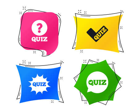 Quiz icons. Speech bubble with check mark symbol. Explosion boom sign. Geometric colorful tags. Banners with flat icons. Trendy design. Vector Stock Illustratie