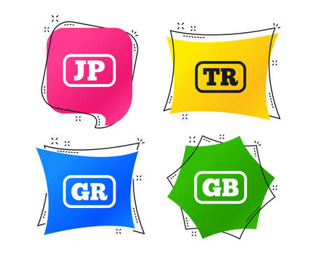 Language icons. JP, TR, GR and GB translation symbols. Japan, Turkey, Greece and England languages. Geometric colorful tags. Banners with flat icons. Trendy design. Vector Illustration