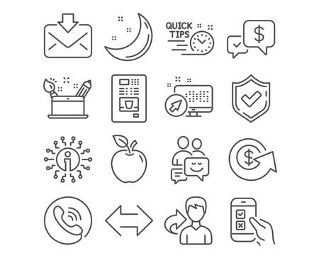 Set of Mobile survey, Creativity concept and Dollar exchange icons. Payment received, Quick tips and Communication signs. Sync, Coffee vending and Incoming mail symbols. Survey vector