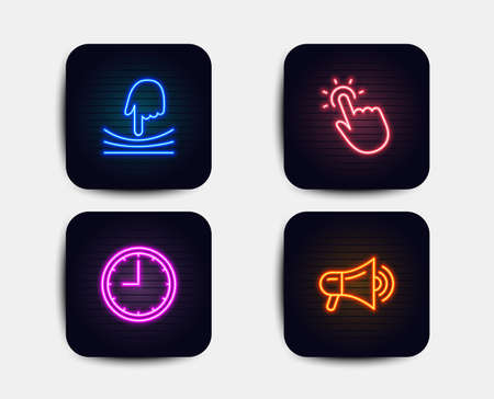 Neon set of Elastic, Touchpoint and Time icons. Megaphone sign. Resilience, Touch technology, Office clock. Advertisement. Neon time icons. Glowing light banners. Vector Illustration