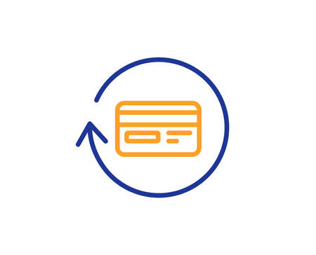 Credit card line icon. Banking Payment card sign. Cashback service symbol. Colorful outline concept. Blue and orange thin line color icon. Refund commission Vector Illustration