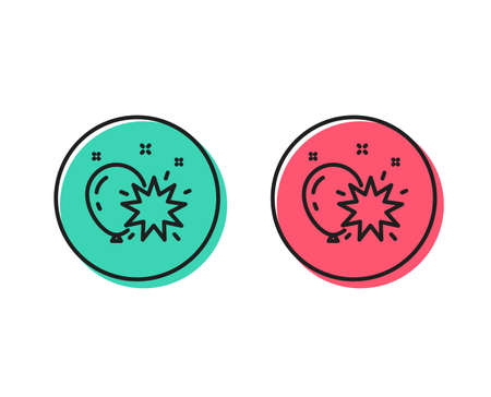 Balloon dart line icon. Amusement park sign. Pop the balloon symbol. Positive and negative circle buttons concept. Good or bad symbols. Balloon dart Vector 일러스트